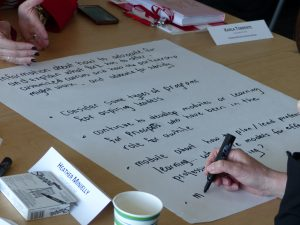 Participants write some of their DSBs individual needs for professional learning