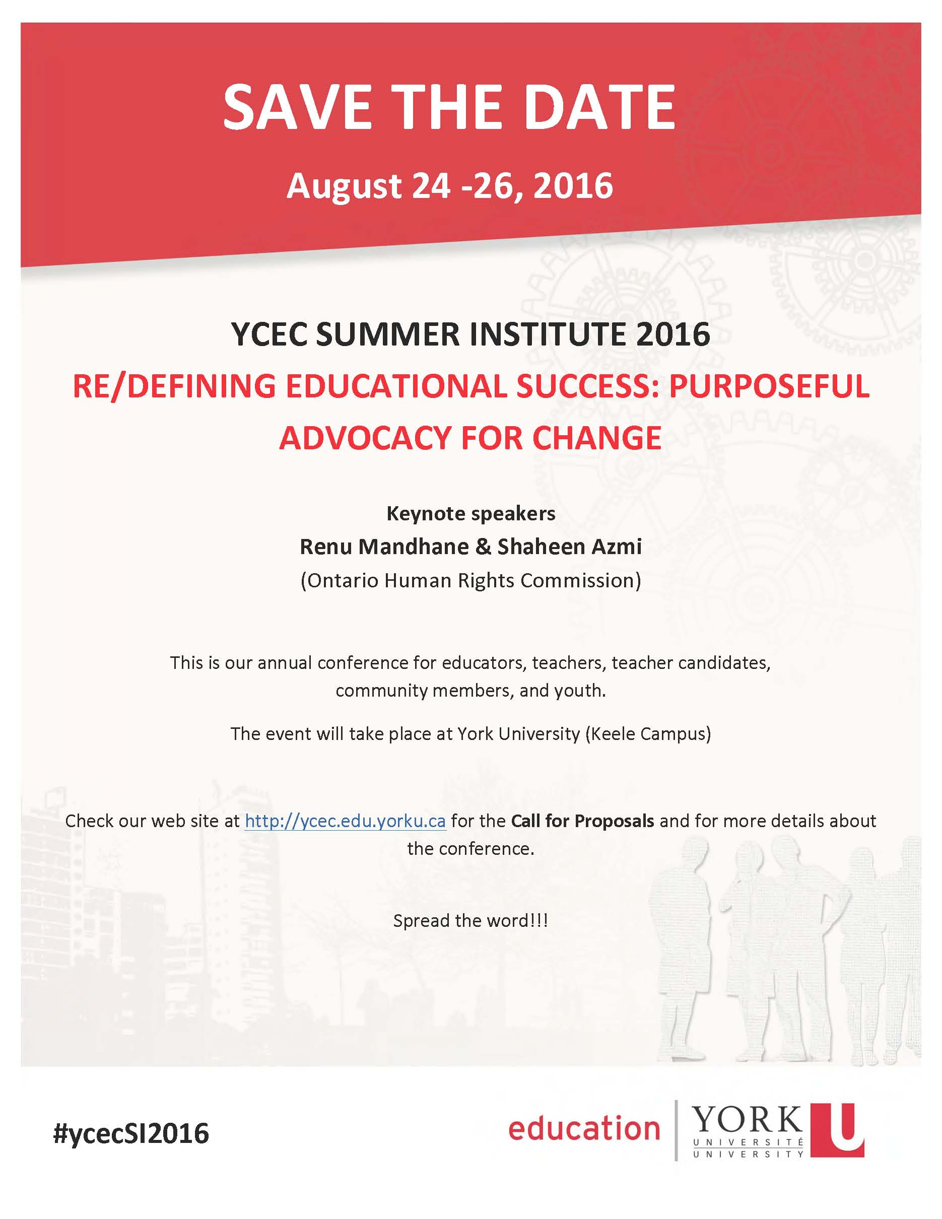 YCEC Summer Institute 2016 - Save the date