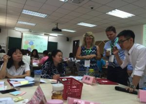 York Instructors Marc Husband and Jilian Stambolich working with teachers in China.