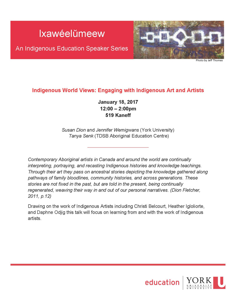 indigenous speaker series flyer Jan 18