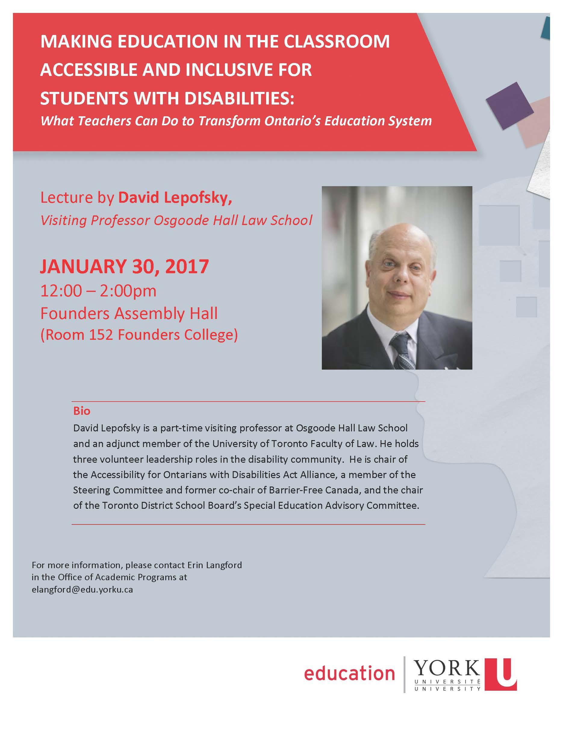 David Lepofsky event flyer