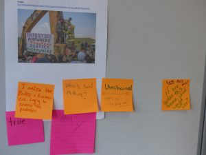 image of Standing Rock with sticky notes from teacher candidates