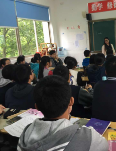 Linda in her classroom in China