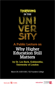 Thriving in the University: Why Higher Education Still Matters @ Founders Assembly Hall (152 Founders College)