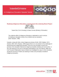 Realizing Indigenous Education: Learning from the Listening Stone Project @ 280N York Lanes