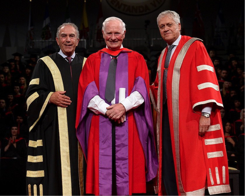 Chancellor Greg Sorbara, Governor General David Johnston and President and Vice-Chancellor Mamdouh Shoukri