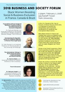 2018 Business and Society Forum: Black Women Resisting Social & Business Exclusion in France, Canada and Brazil @ 519 Kaneff Tower