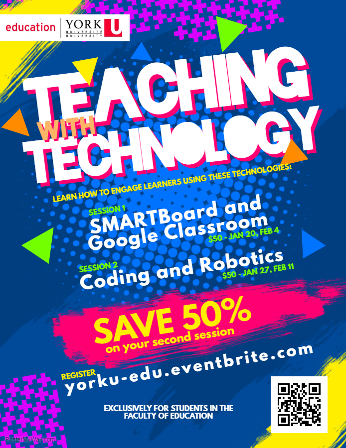 2018 Teaching with Technology workshops poster