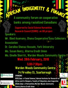 African Indigeneity and Finance @ Warden Woods Community Centre | Toronto | Ontario | Canada