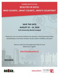 Summer Institute 2018 - Realities in Data: Who counts...What counts...Who's counting? @ Victor Phillip Dahdaleh Building Room 0001 | Toronto | Ontario | Canada