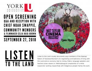 Listen to the Land - OPEN SCREENING @ Nat Taylor Cinema, York University (N102 Ross Building)   Toronto   Ontario   Canada