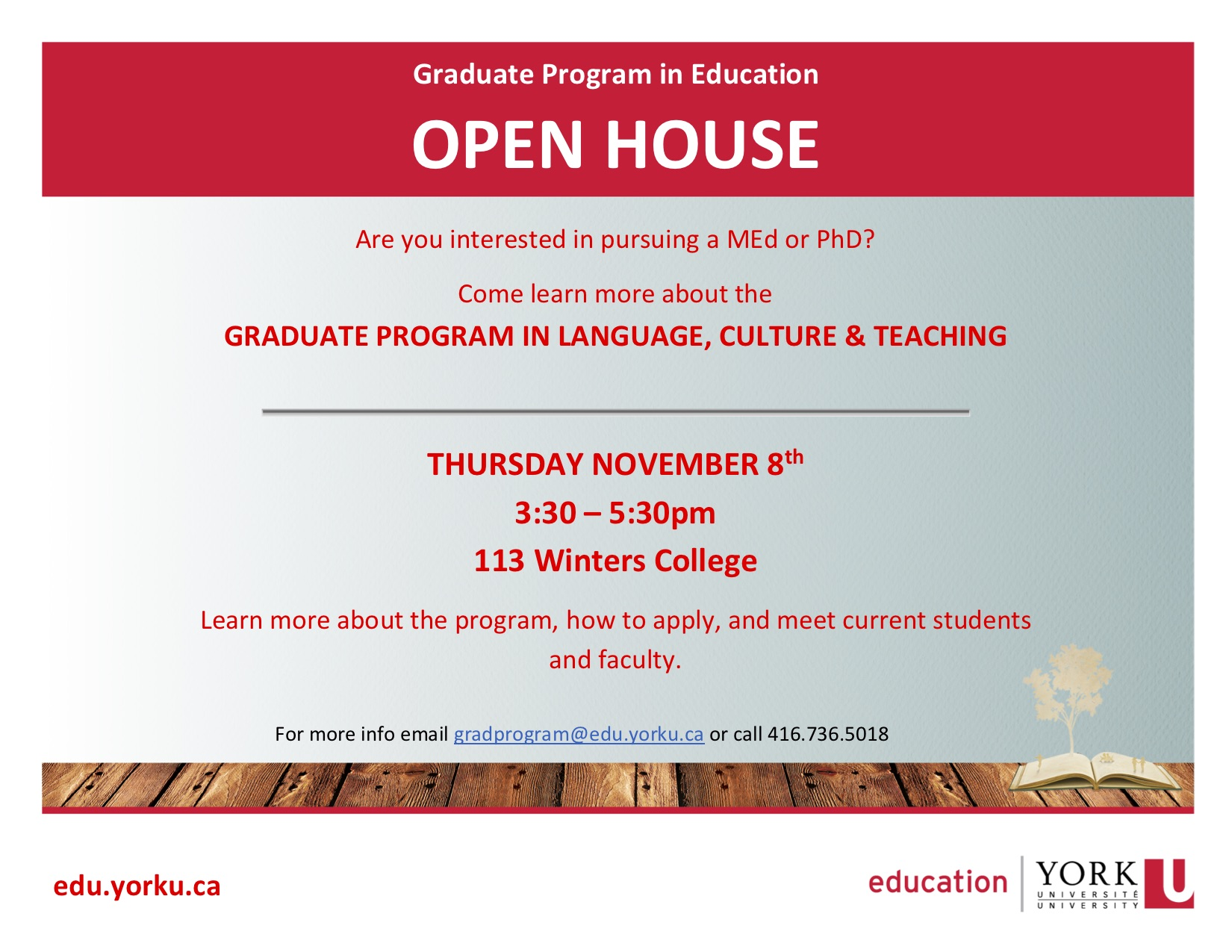 Grad Program Open House flyer