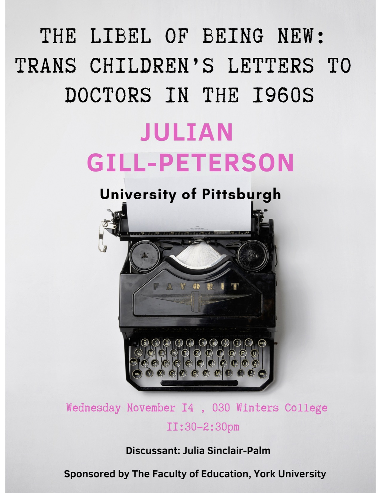 Julian Gill-Peterson talk flyer