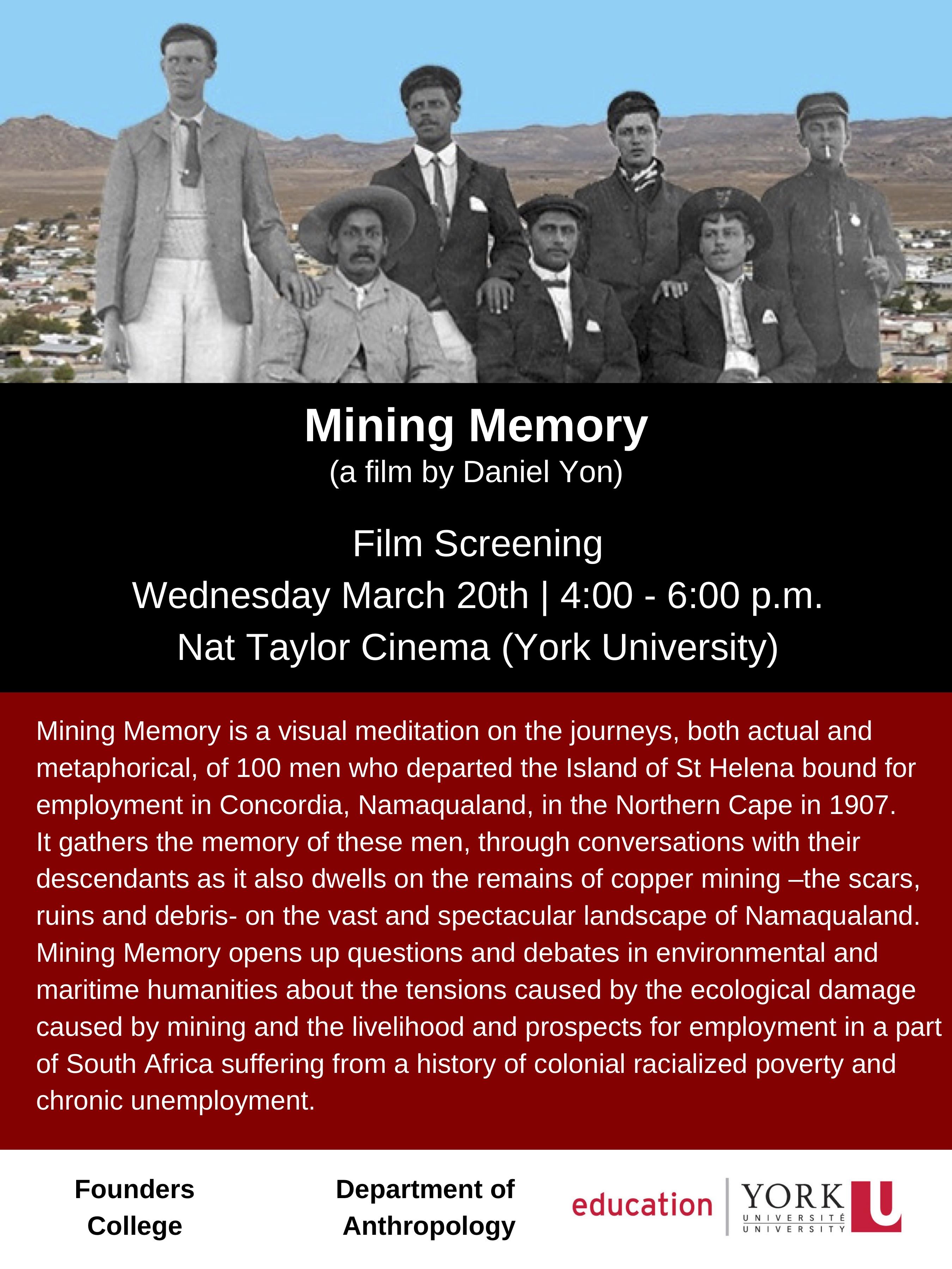 Mining Memory film screening poster