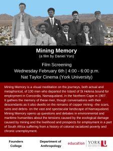 Film Screening - 'Mining Memory' A film by Professor Dan Yon @ Nat Taylor Cinema, York University (N102 Ross Building)