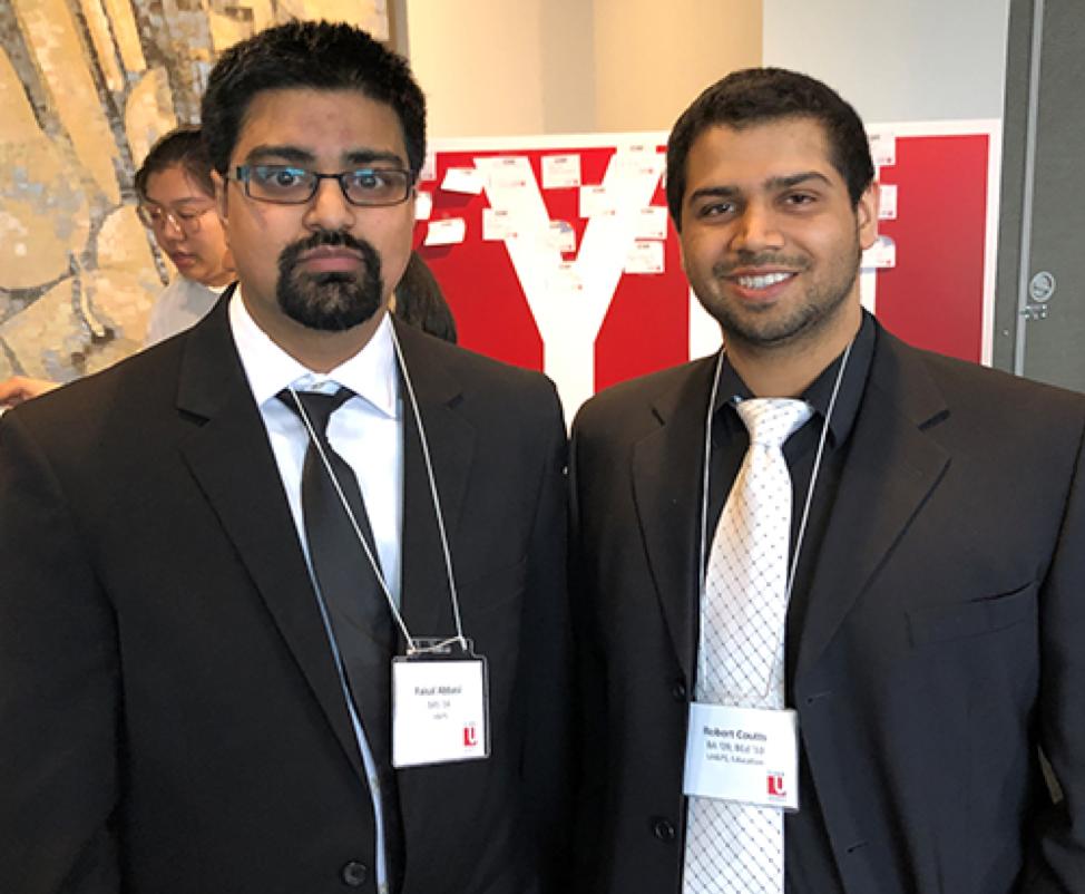 From left: Faisal Abbasi (BAS '14) with 2010 Golden GRADitude Award recipient Robert Coutts (BA '09, BEd '10)