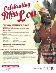 Celebrating Miss Lou @ Founders College, Senior Common Room (room 305), York University