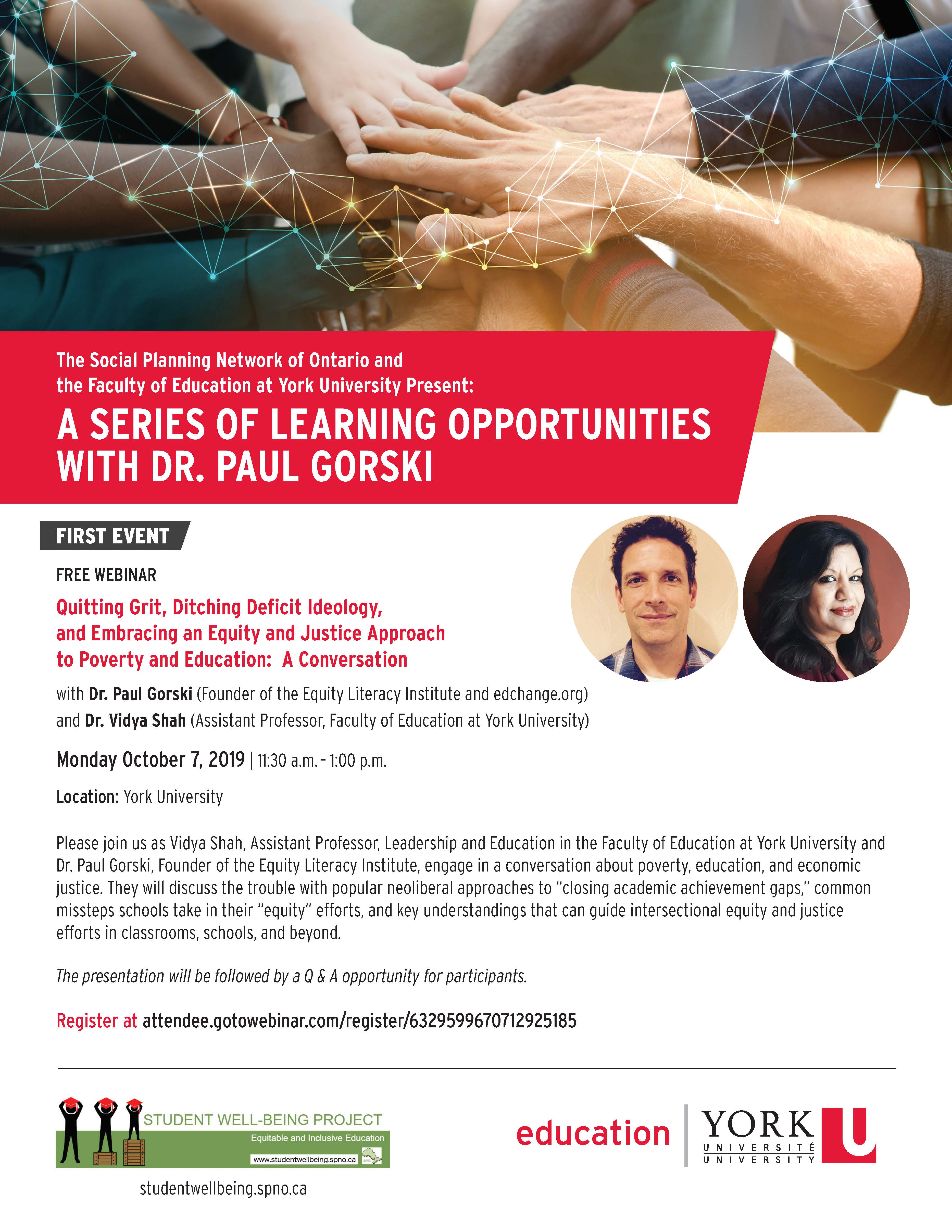 FREE WEBINAR - Quitting Grit, Ditching Deficit Ideology, and Embracing an Equity and Justice Approach to Poverty and Education @ York University